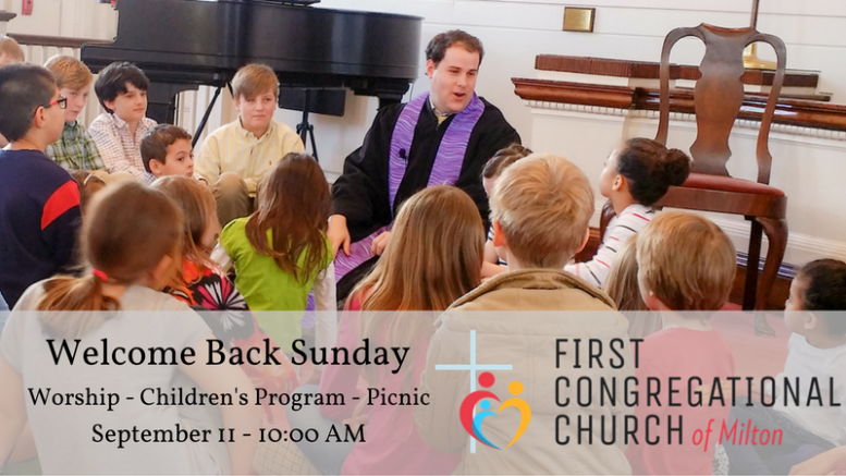 First Congregational Church Welcome Back Sunday to take place Sept. 11