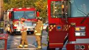 Firemen and fire trucks