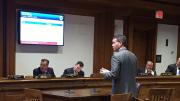 Pictured her: Representative Walter F. Timilty testifies on behalf of one of his legislative proposals.
