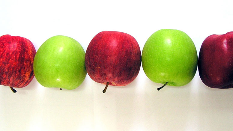 Row of apples