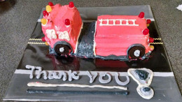 Firetruck cake baked by local family for Milton's Engine 4