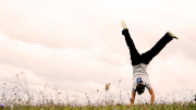A person doing a handstand