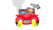 Kids driving to the library with mom