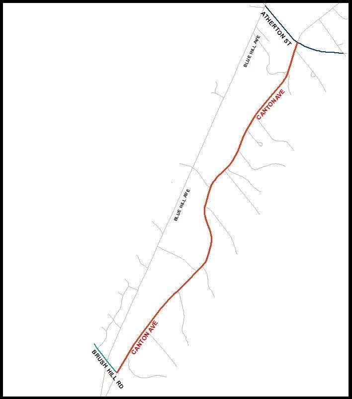 Canton Avenue Closure, map, fall 2015