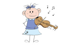 Child with violin - drawing