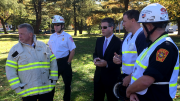 Timilty attends trench-rescue drill at Milton Fire Headquarters.