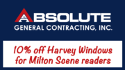 Absolute General Contracting offers 10% off Harvey windows to Milton Scene readers