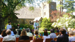 The Rev. Hall Kirkham hosts an outdoor Sunday service in St. Michael's Garden of Seasons at 112 Randolph Ave. in Milton, MA.