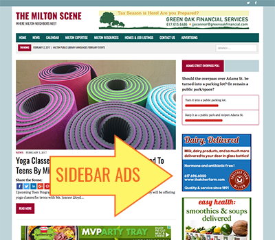 Advertise on the Milton Scene: Sidebar Ad