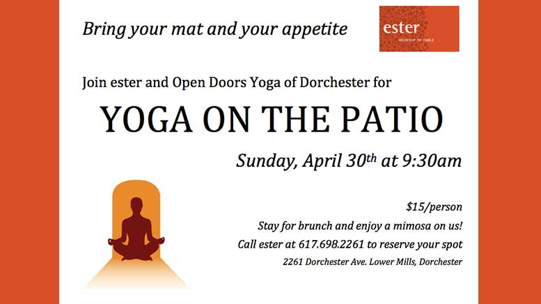 Yoga On The Patio To Take Place Sunday April 30 At Ester
