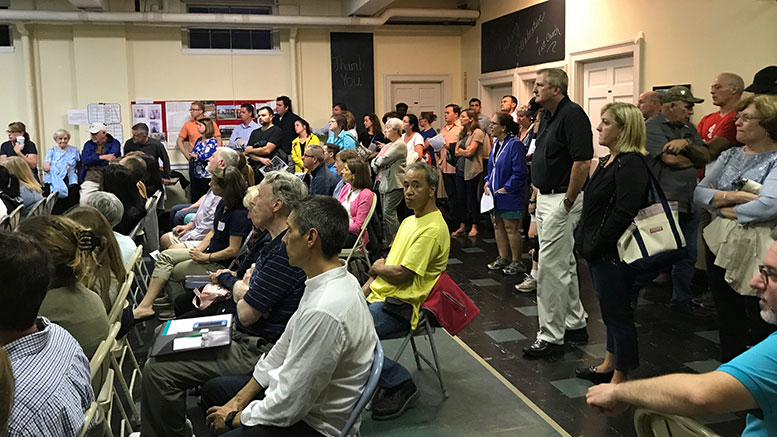 "East Milton residents filled the seats and lined the walls as they voiced concerns about the proposed ""friendly 40B"" development by Falconi Properties"