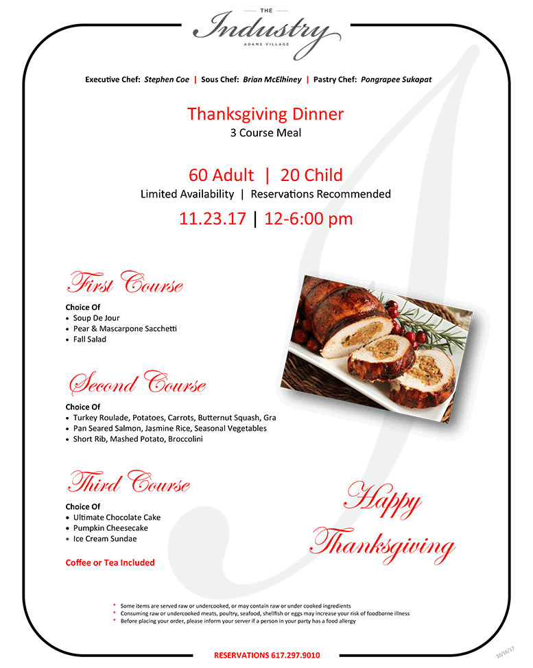 The Industry thanksgiving menu