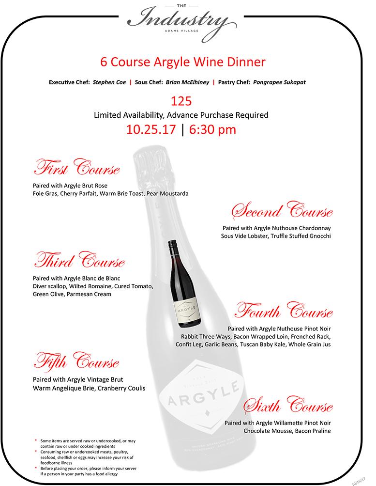 The Industry wine dinner menu