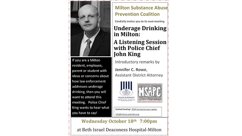 Underage Drinking in Milton: A Listening Session with Police Chief John King