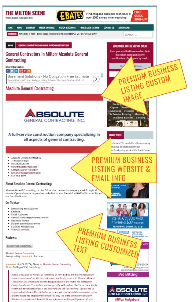 Premium business listing advertising