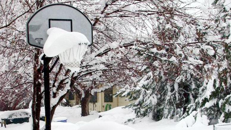 basketball hoop in snow