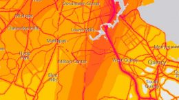 Extracted from the US Department of Transportation's noise map, this image shows the impact of the runways over Milton. Noise levels are shown lightest to darkest, yellow to red/pink.