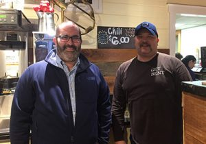 Joe Papagno (left), Vice President of Coldwell Banker in Milton which is sponsoring Winter Fest, stopped by Bents recently to see all the renovations. He met Larry Mondene, the new owner of Bents, who will be competing in the chili cook off for the first time. As a judge of the cook off, Papagno will have an opportunity to cast his vote for Bents.