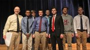 Photo: L to R: Mr. Holmes, Kahlil Cooper of Milton, Giovanni Coraluppi of Newton, Cal Noonan (tied 3rd) of Scituate, Brady Connolly of Hingham, Nick Dias (1st) of Malden, Ryan Carney (tied 3rd) of Scituate, Ben Mulligan (2nd) of Avon.