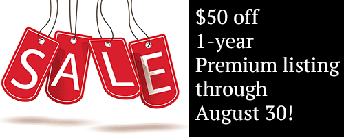 Premium Business listings get $50 off now through August 30, 2018
