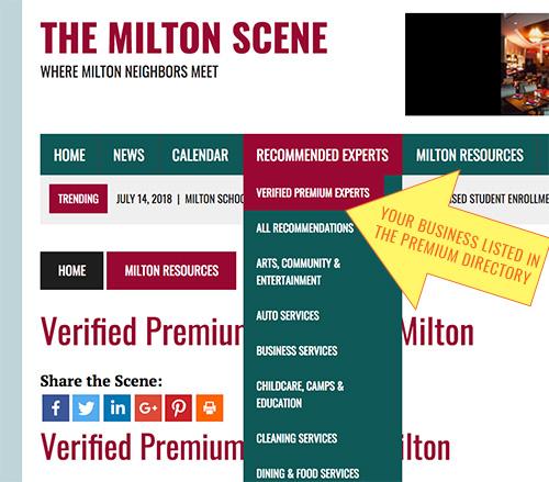 Milton Scene Premium Business listing verified premium experts page