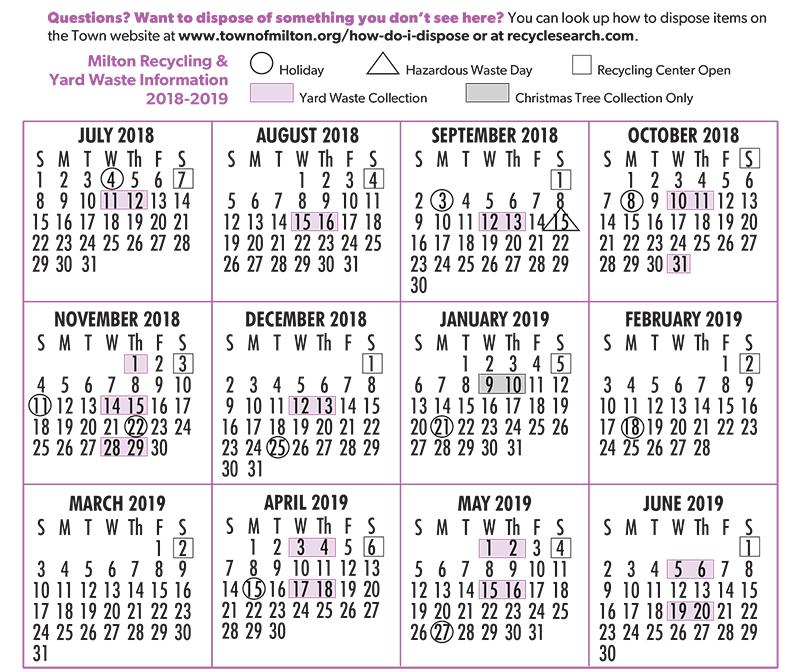milton yard waste calendar 2018