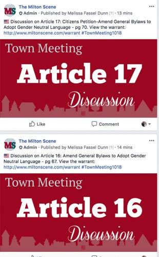 Milton Town Meeting 2018 articles