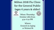 Milton General Public Flu Clinic to take place October 18, 2018