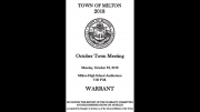 Milton town meeting warrant
