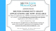Milton Junior Woman's Club 2019 Community Grants
