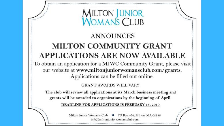 Milton Junior Woman's Club 2019 Community Grants