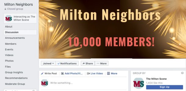 Join Milton Neighbors on Facebook