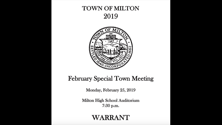View the February 25 Milton Town Meeting Warrant
