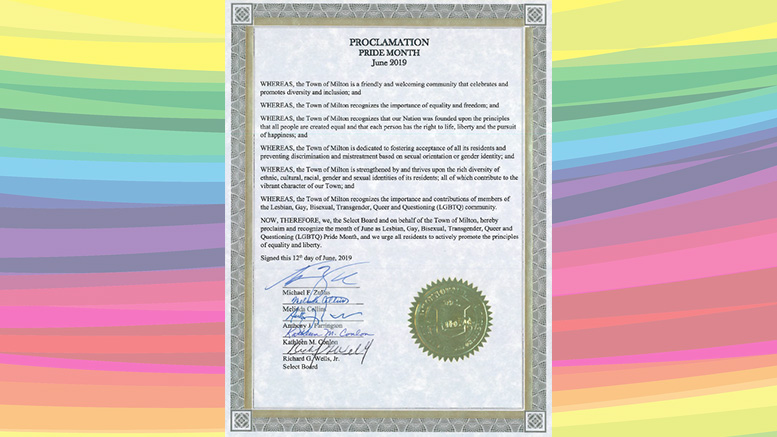 June declared Pride Month in Milton by Select Board