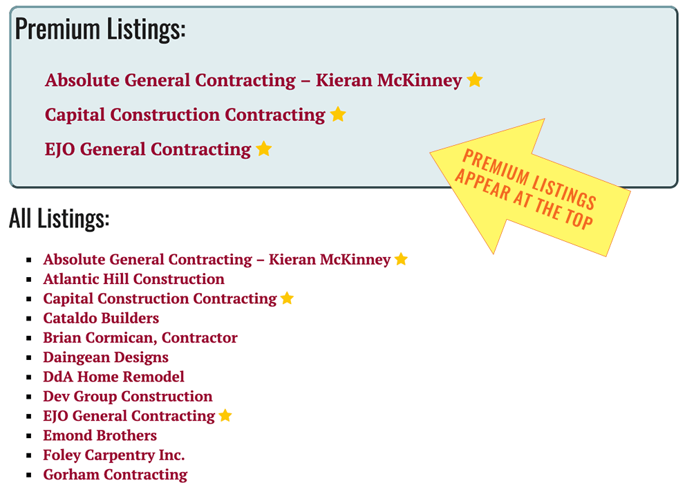 Premium Business Listing map - general contractor directory category page map