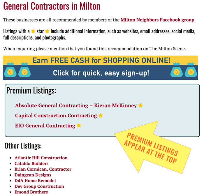 Premium Business Listing map - directory category page