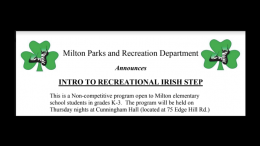 Milton parks & Rec Irish Step 2020