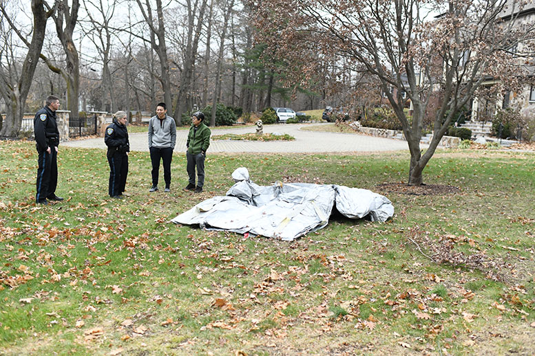 Escape slide from Boeing airplane, dropped in Milton, MA. Photo by Kevin Brown