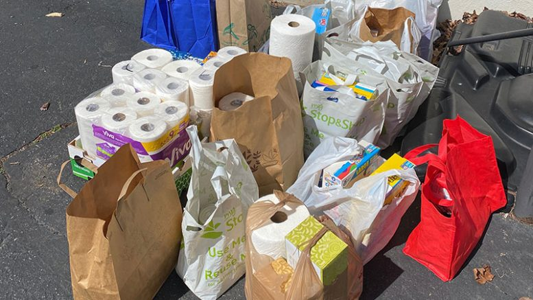 groceries and supplies collected