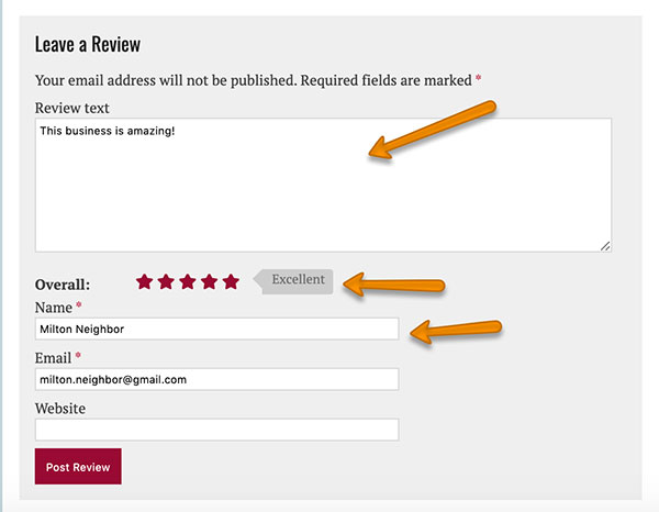 review a business listing