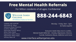 Mental health support resources for Milton residents
