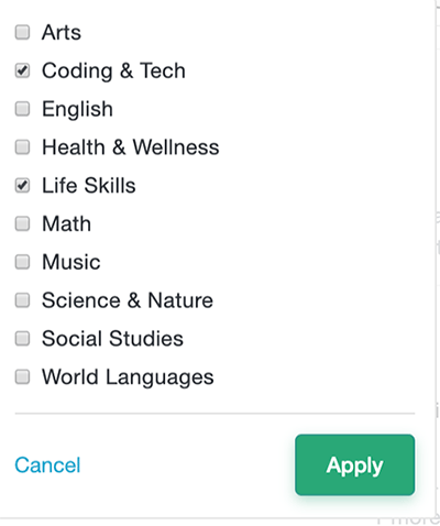 Outschool class search options