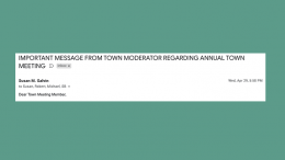 Milton Town Meeting Members: Did you complete your survey?