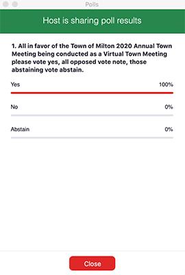 Milton virtual town meeting poll