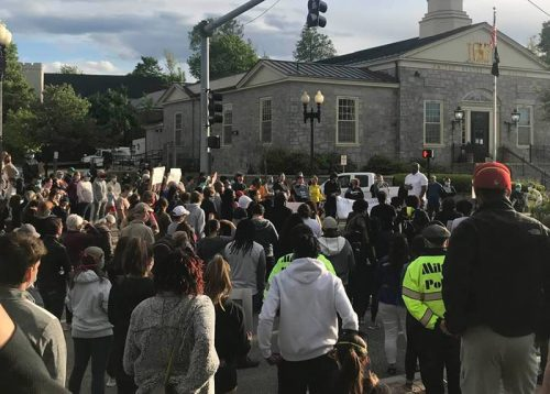 Black Lives Matter protest in East Milton Square. Photo by Nora Harrington.