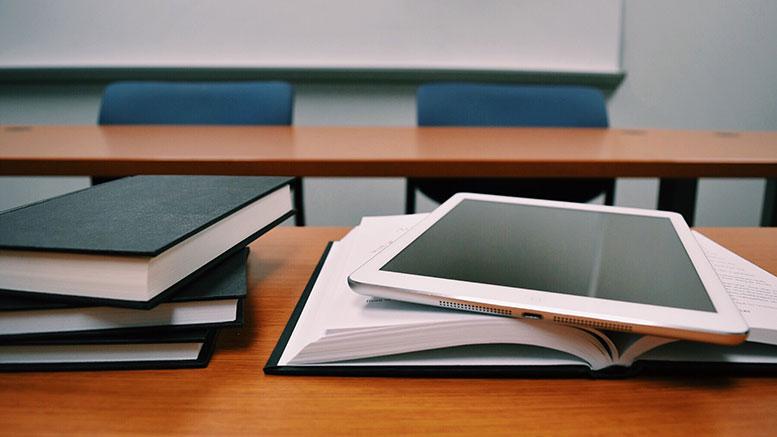 school desks ipad books