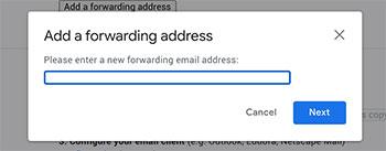 gmail filtering settings forward address