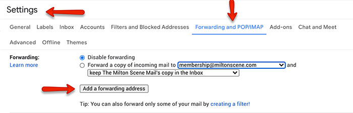 gmail filtering settings