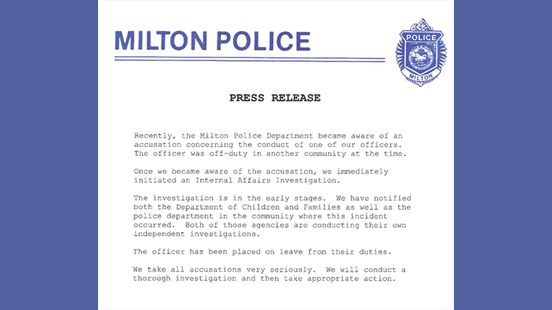 Milton Police Department issues press release regarding officer accused of threatening boys over Black Lives Matter support