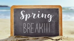 Spring break on chalkboard at the beach